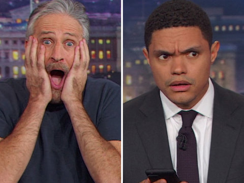 Jon Stewart Crashes 'Daily Show' to Help Trevor Noah Roast Roy Moore