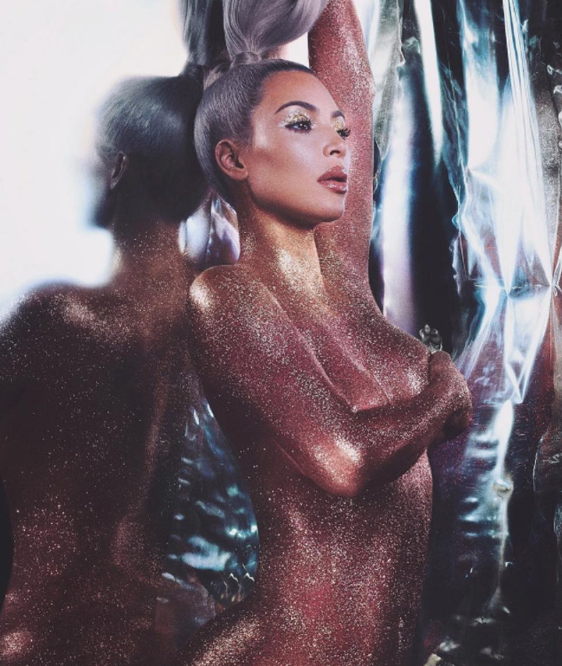 Kim Kardashian Wears Nothing But Glitter -- You Know You Wanna See It