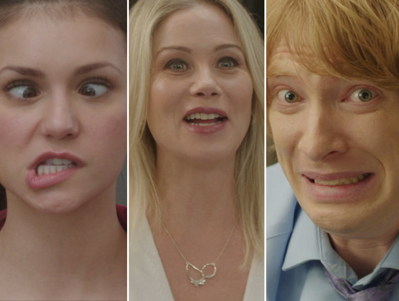 Nina Dobrev, Christina Applegate and Domhnall Gleeson Totally Lose It In 'Crash Pad' Bloopers (Exclusive)