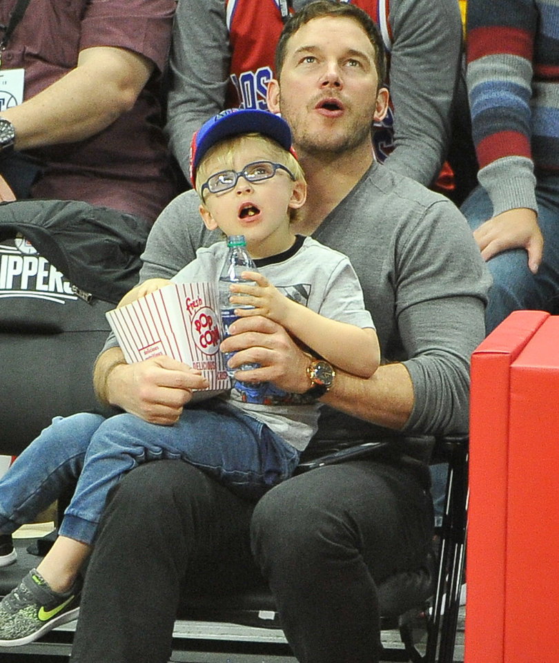 Chris Pratt and Mini-Me Son Jack Are Too Cute at Clippers Game