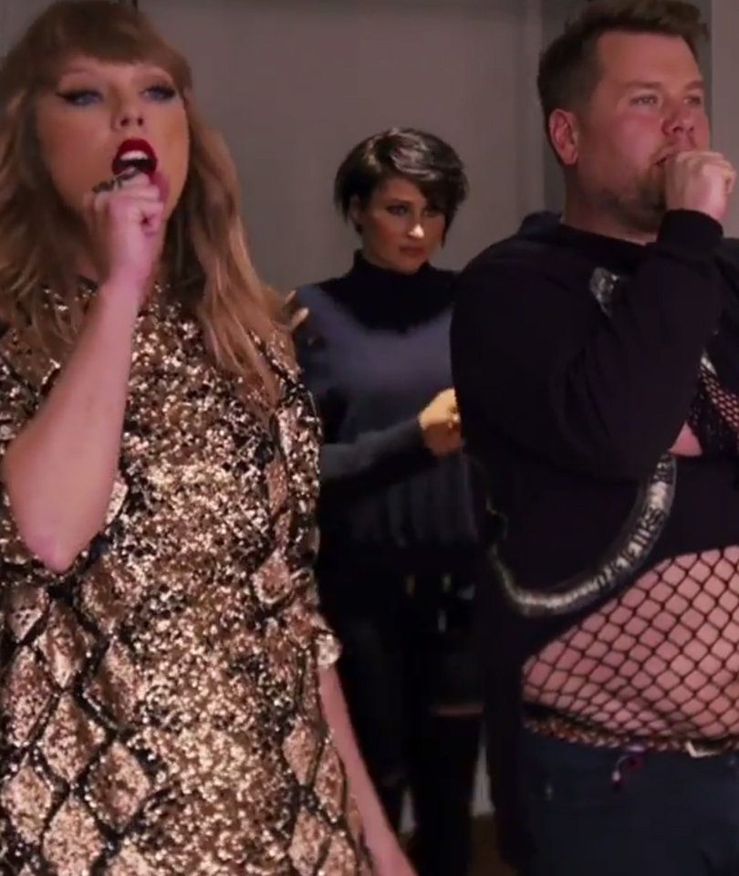 James Corden Terrorizes Taylor Swift and Her Backup Dancers
