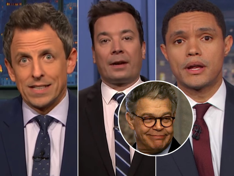 Late-Night Hosts Take Shots at Trump, Kellyanne Conway and GOP After Al Franken's Resignation