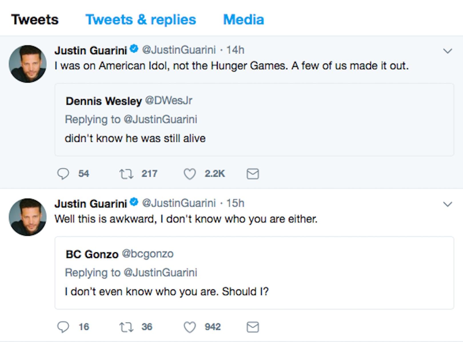 Justin Guarini Tweets Screengrab