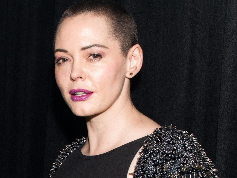 Rose McGowan Shades 'Fancy People Wearing Black' at the Golden Globes