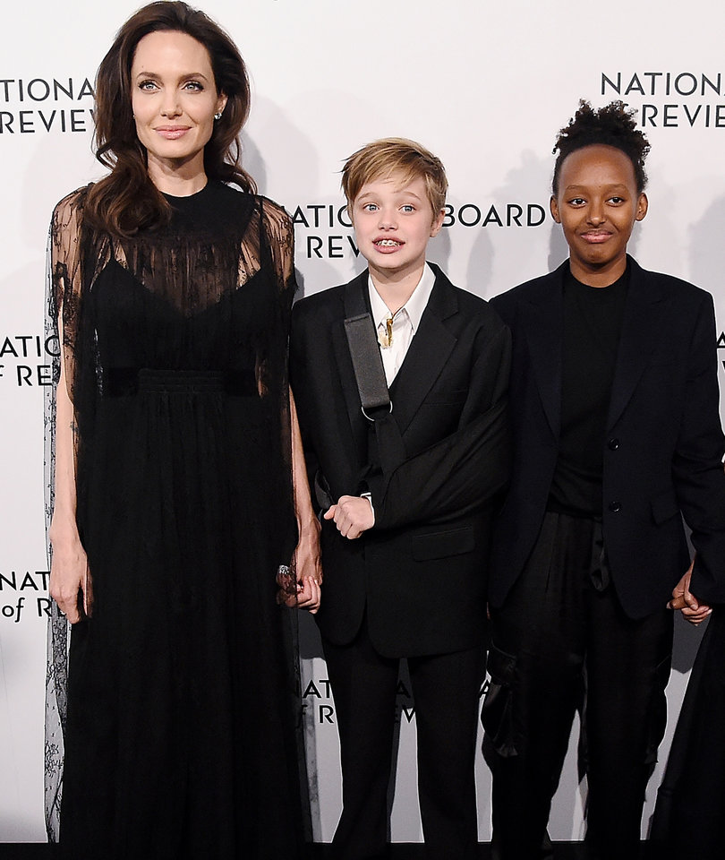 Angelina Jolie Attends Board of Review Gala with Daughters Shiloh and Zahara