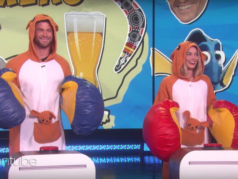Australian Actors Chris Hemsworth and Margot Robbie Kinda Suck at Australian Trivia on 'Ellen'