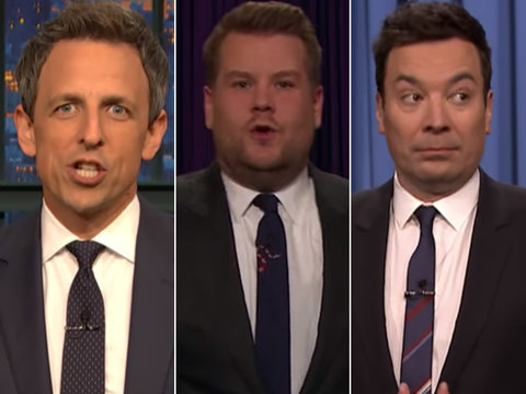 Every Late-Night Host Trolls Trump for Fumbling National Anthem