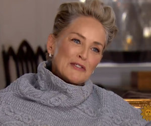 Sharon Stone LOLs in Reporter's Face
