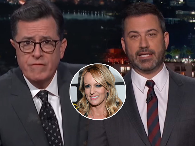 Kimmel Recreates Trump's Alleged Tryst With Porn Star Stormy Daniels While Colbert Nearly Vomits