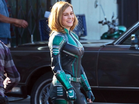 Brie Larson's Surprisingly Green 'Captain Marvel' Costume Divides Fans