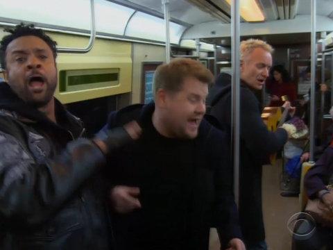 James Corden, Shaggy and Bono Perform 'Subway Karaoke' at 2018 Grammy Awards