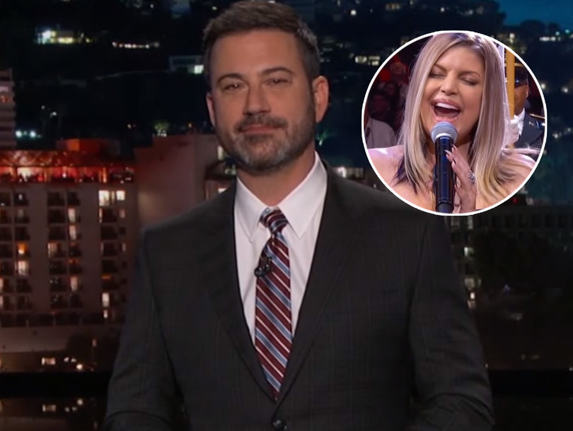 Jimmy Kimmel Takes Shot at Fergie's National Anthem While Explaining His Televised Reaction