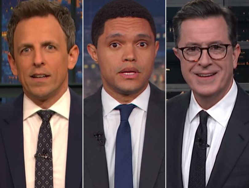 Late-Night Stars Laugh at Trump for Saying He Would Have Run Into Florida Shooting