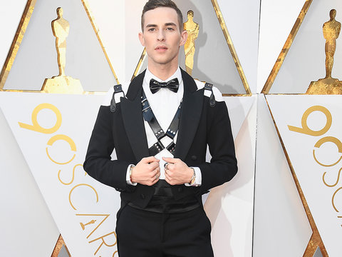 Olympian Adam Rippon Hits the Oscars Red Carpet In a Leather Harness