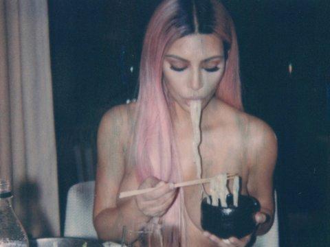 Kim Kardashian Eats Noodles Topless, Too!