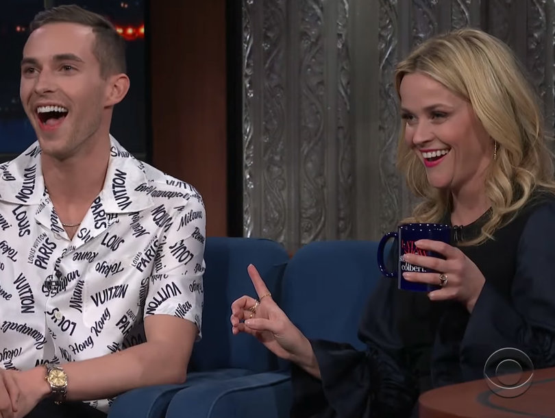 Reese Witherspoon Adorably Fangirls Over Adam Rippon on 'The Late Show'