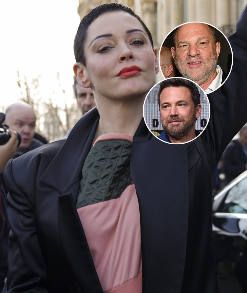 Rose McGowan Sends Weinstein Bday Message, Shades Affleck's Back Tat