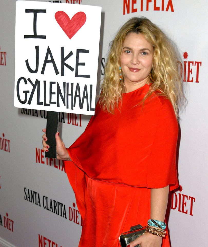 Barrymore Waves 'I Heart Jake Gyllenhaal' Sign After Calling Him 'Least…