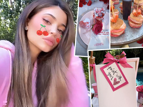 Kylie Jenner Threw a Pink Valentine's Brunch for Her Girls